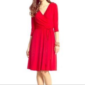 WHBM Faux Wrap Red dress